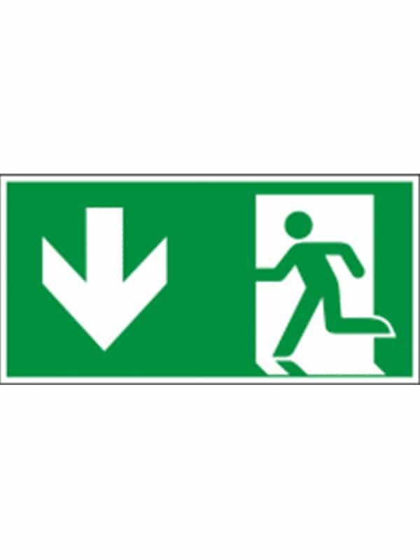 Rettungswegschild Laufrichtung unten